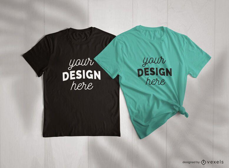 Conjunto de composição psd de maquete de camiseta