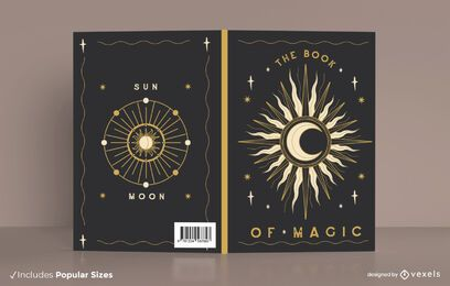 Diseño de portada de libro sol y luna.
