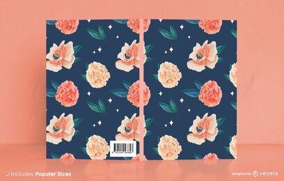 Diseño de portada de libro de flores de acuarela