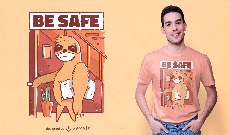 Face mask sloth t-shirt design