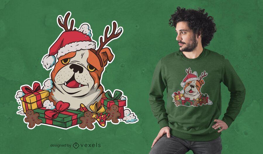 Design de camisetas de buldogue natalino