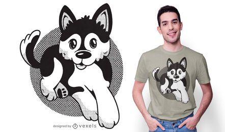 Diseño de camiseta de perro pomsky