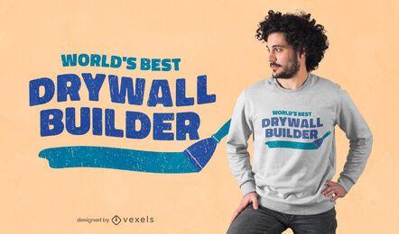 Diseño de camiseta de constructor de paneles de yeso.