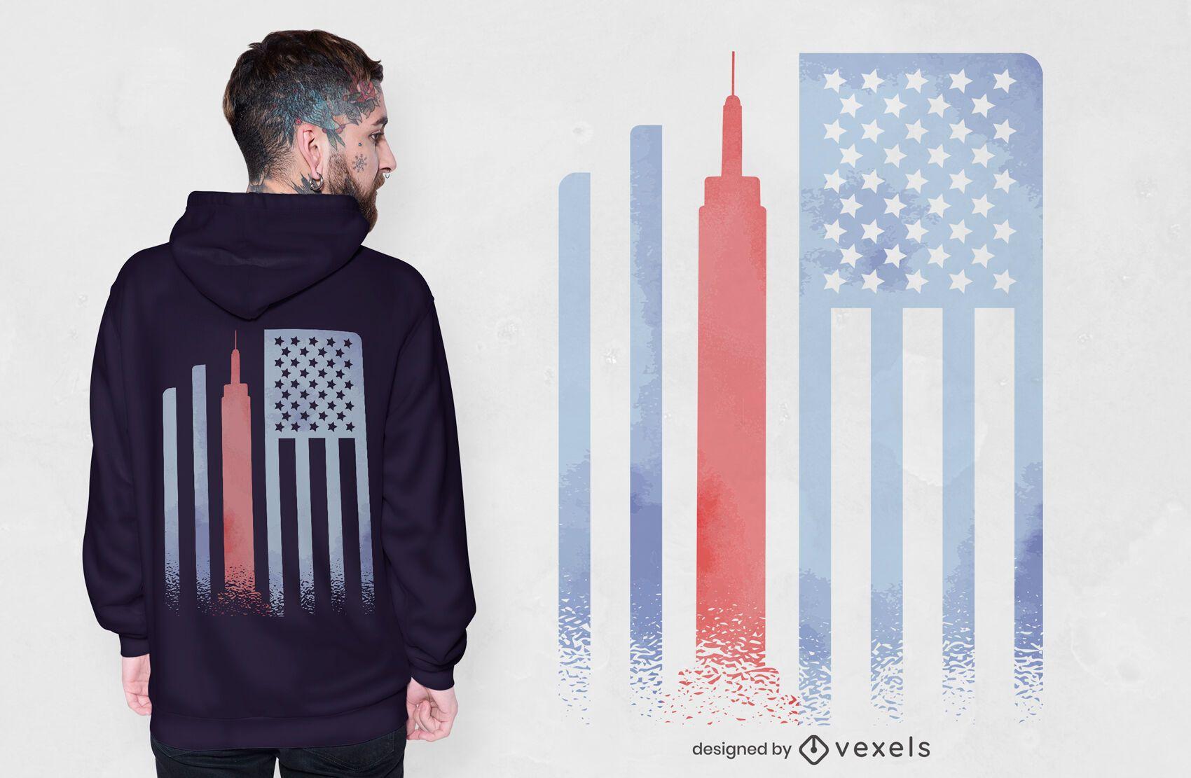 Diseño de camiseta de la bandera del estado del imperio