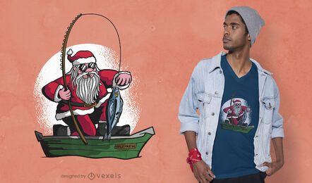 Fishing santa t-shirt design
