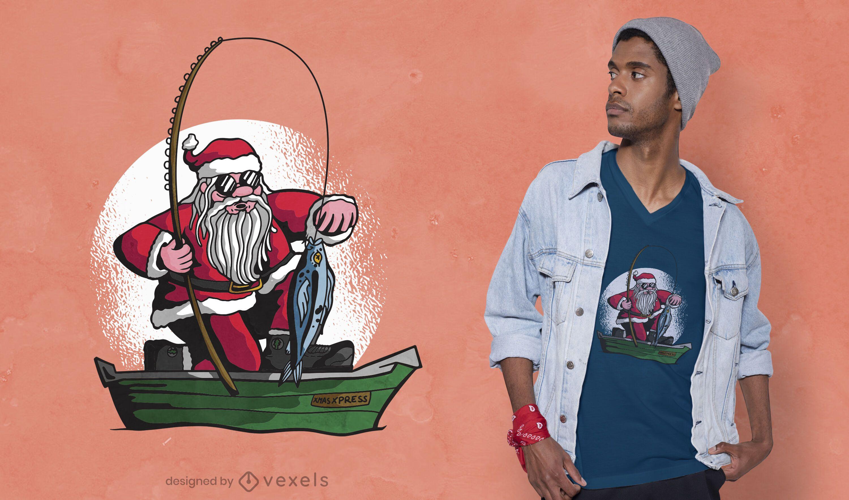 Fishing santa t-shirt design