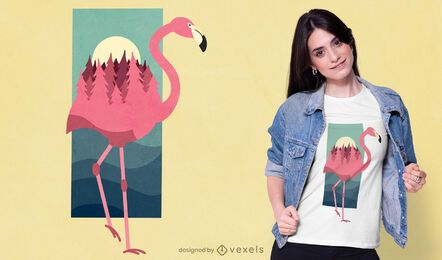 Diseño de camiseta Flamingo Forest