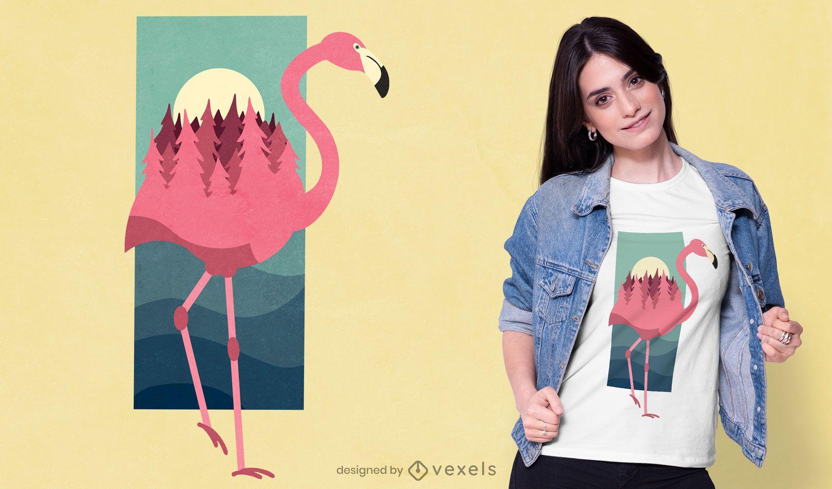 Diseño de camiseta Flamingo Forest