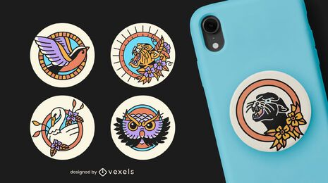 Tattoo animals popsocket set