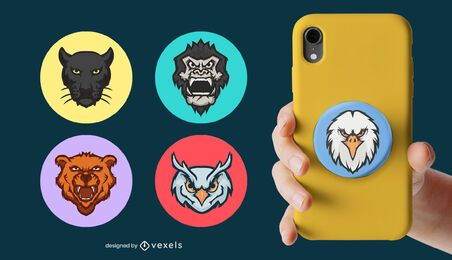 Animal heads popsocket set