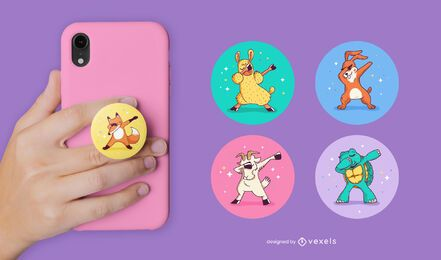 Dabbing animals popsocket set