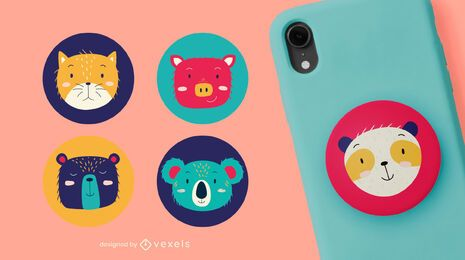Cute animal heads popsocket set