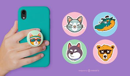 Animals heads popsocket set