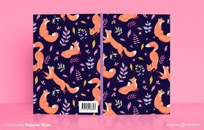 Diseño de portada de libro de zorros de acuarela