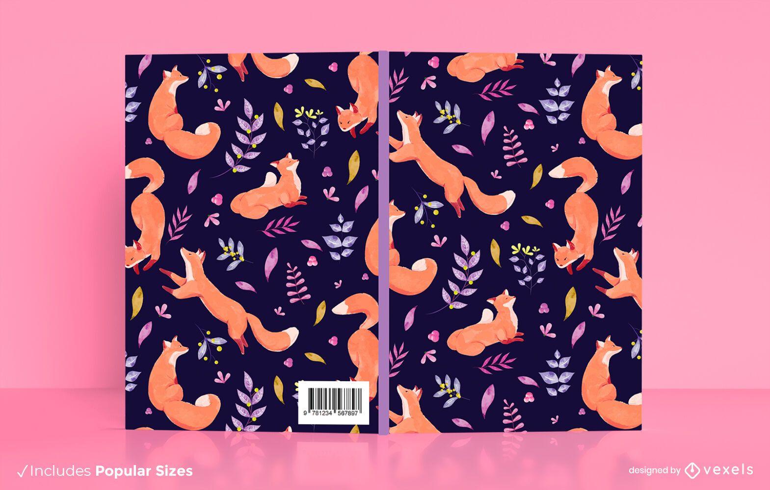 Watercolor foxes book cover design