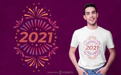 Diseño de camiseta año nuevo 2021