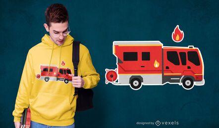 Diseño de camiseta con pegatina de camión de bomberos