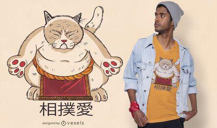 Diseño de camiseta de gato sumo
