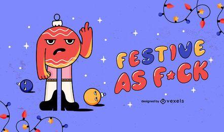 Festive as fuck illustration design
