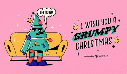 Grumpy christmas illustration design