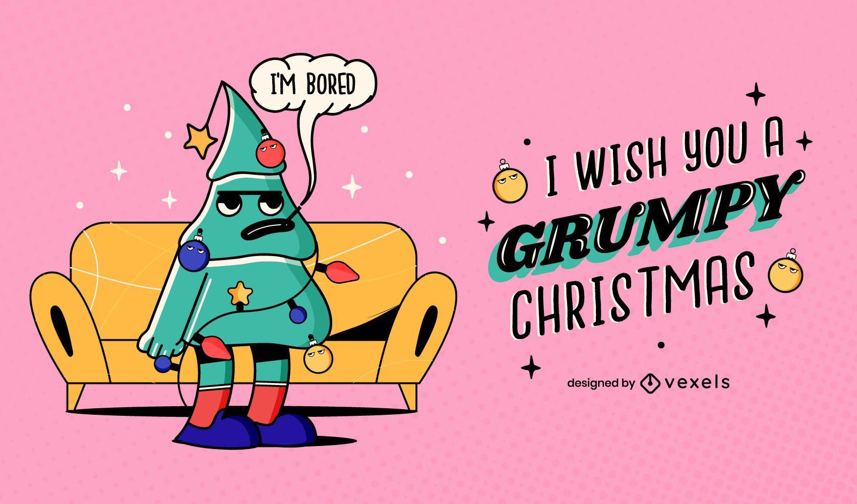 Grumpy christmas illustration design