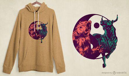 Diseño de camiseta de oso toro yin yang