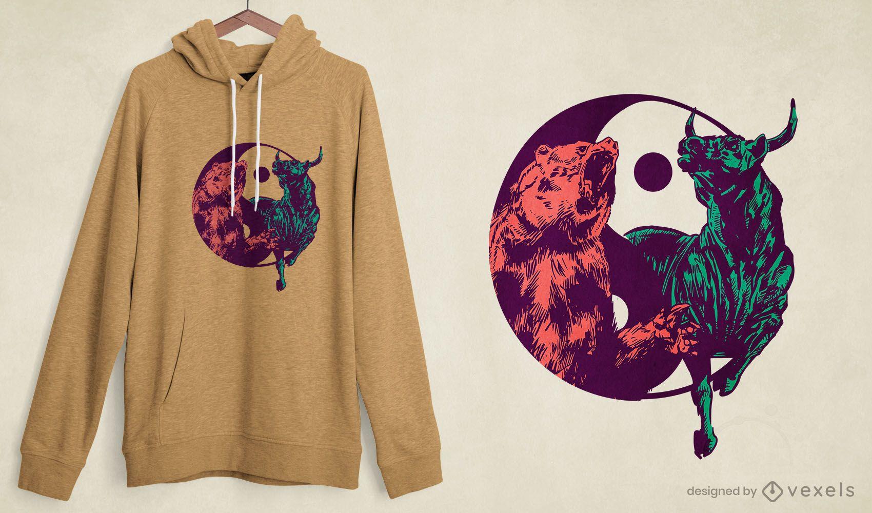 Yin yang bull bear t-shirt design