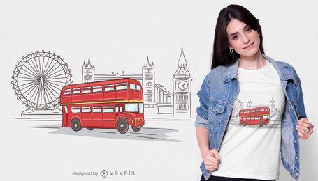 Diseño de camiseta de autobús de Londres