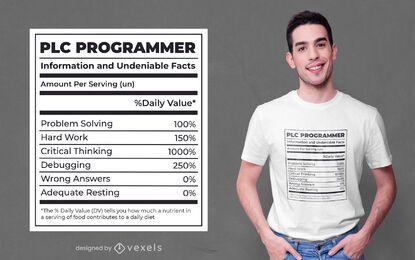 Diseño de camiseta de etiqueta de información nutricional del programador