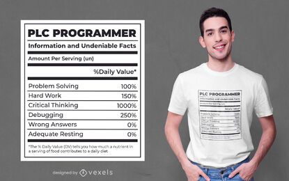 Programmer nutrition facts label t-shirt design