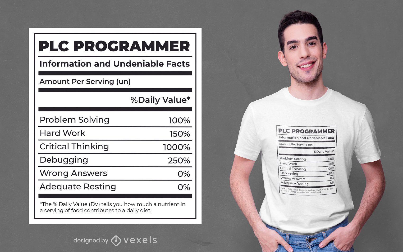 Programmer nutrition facts label t-shirt design