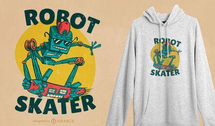 Design de camiseta de patinador robô