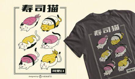 Sushi Katze rollt T-Shirt Design