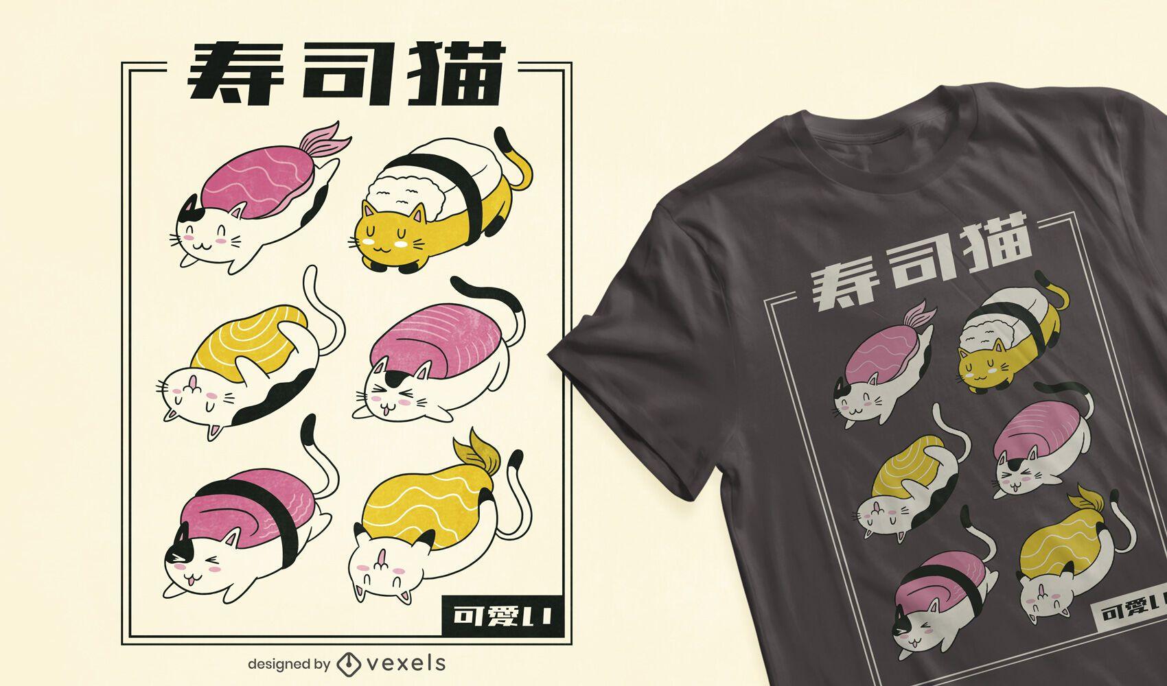 Diseño de camiseta sushi cat rolls