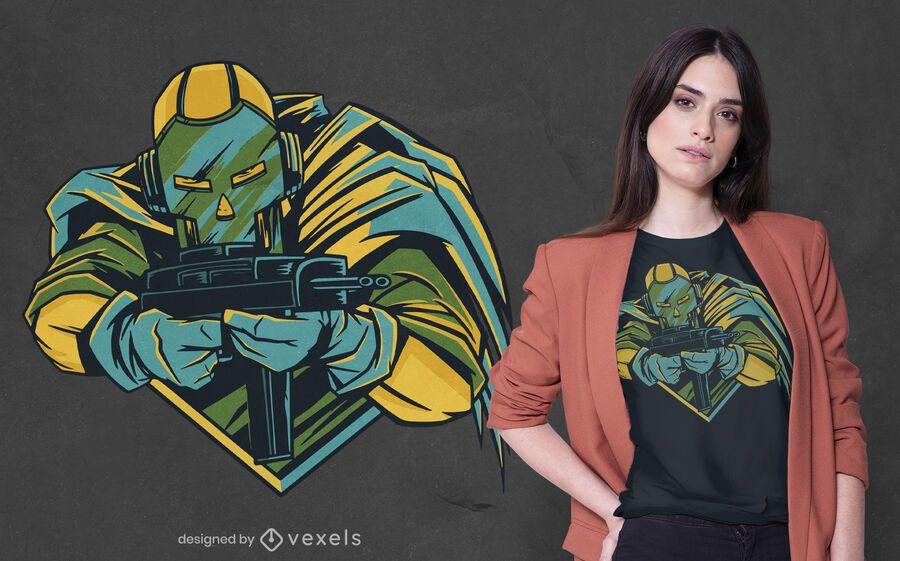 Masked shooter t-shirt design
