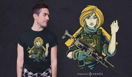 Design de camiseta de garota soldado