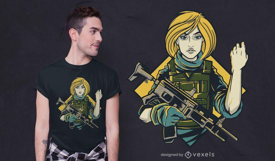 Soldier girl t-shirt design