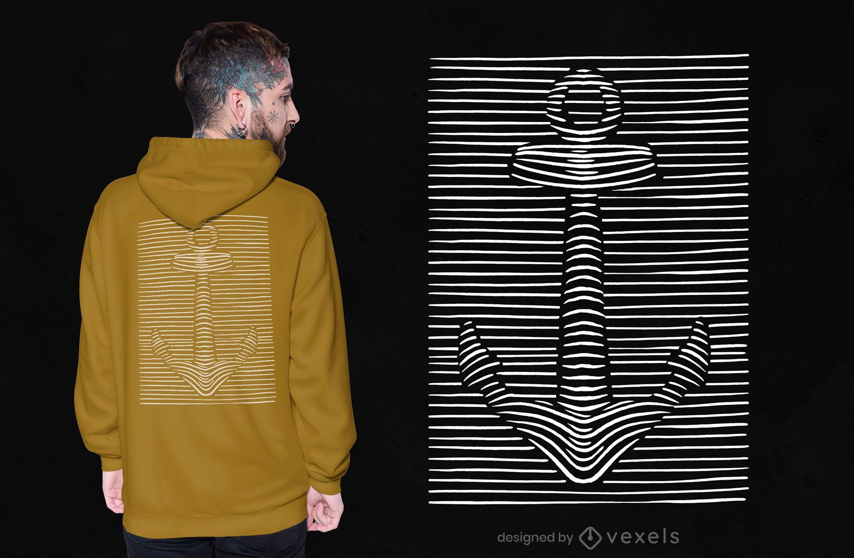 Diseño de camiseta de ancla 3d