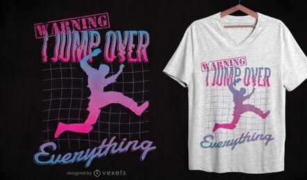 Diseño de camiseta retrowave pakour