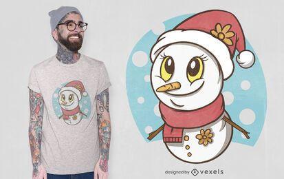 Lindo diseño de camiseta de muñeco de nieve