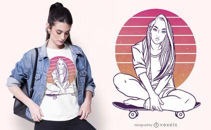 Design de t-shirt do pôr do sol da menina skatista