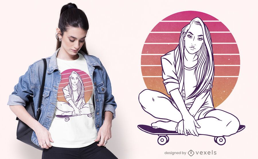 Skater girl sunset t-shirt design
