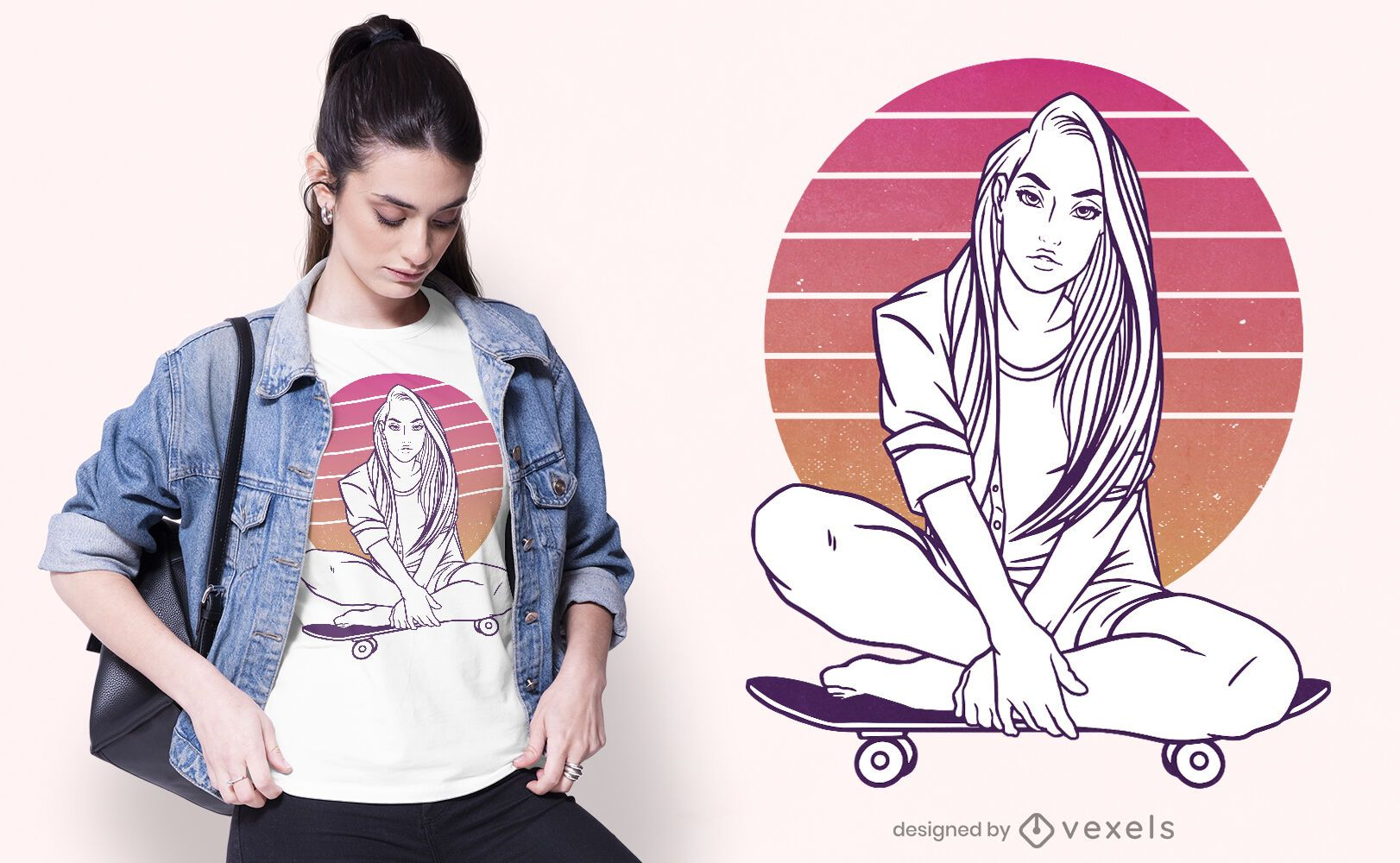 Diseño de camiseta skater girl sunset