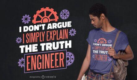 Projeto de camiseta com citação de engenheiro