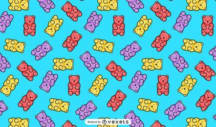 Desenho de padrão de ursinhos de goma