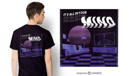 Diseño de camiseta de vaporwave todo en tu mente