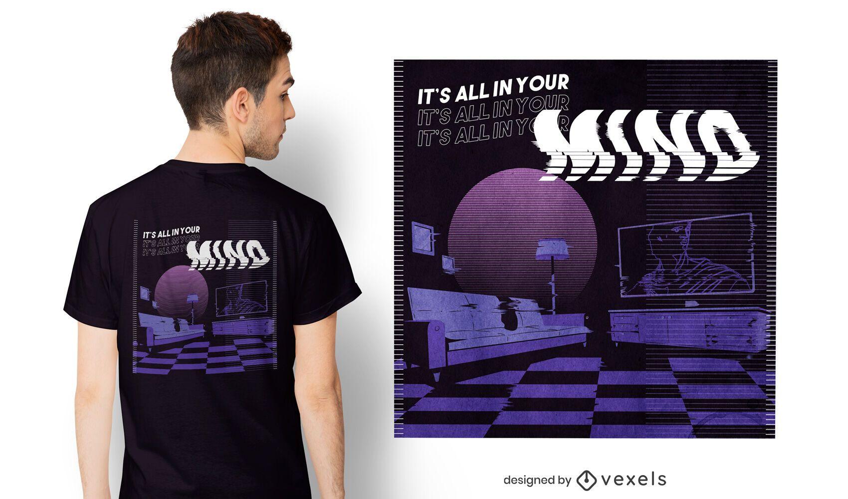 All in your mind vaporwave t-shirt design
