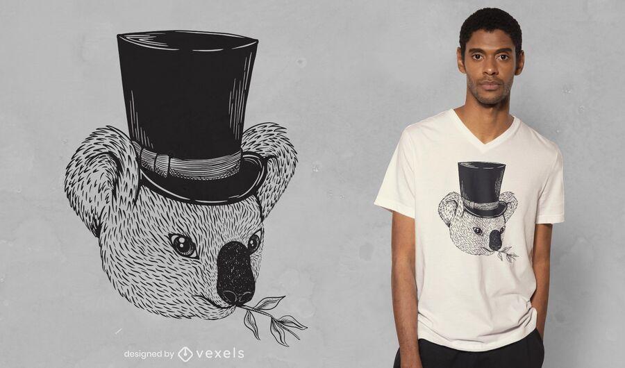 Diseño de camiseta de sombrero de copa koala