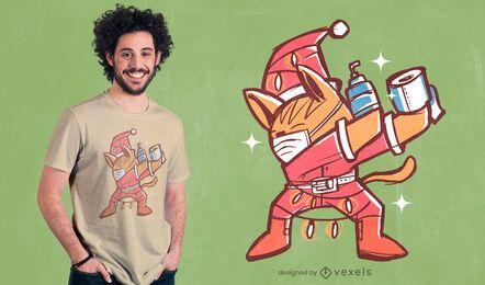 Dabbing christmas cat diseño de camiseta