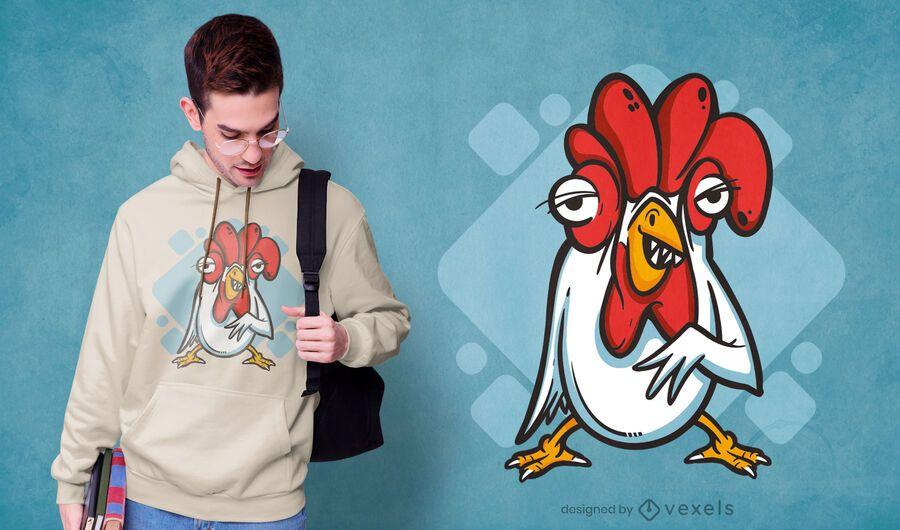 Diseño de camiseta de dientes de pollo.